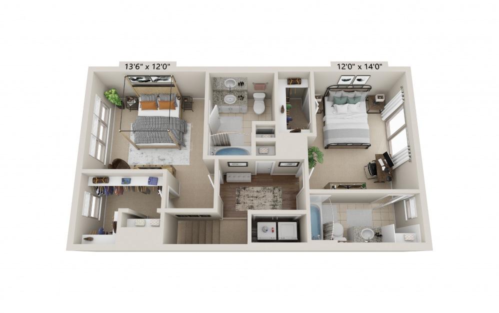 Townhome 1 3 Bed 3 Bath Floorplan