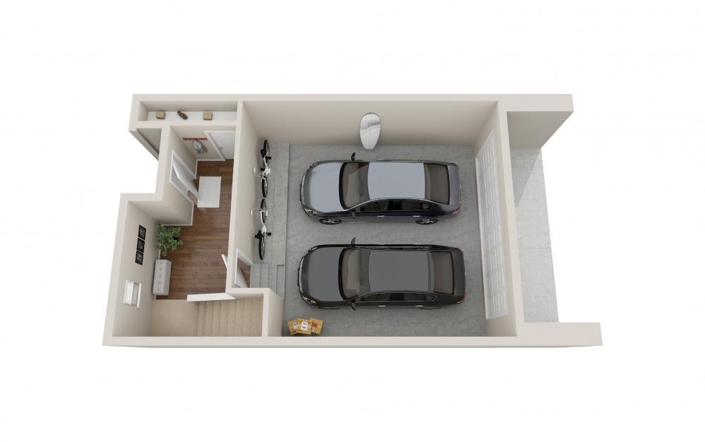 Townhome 2 1 Bed 1 Bath Floorplan